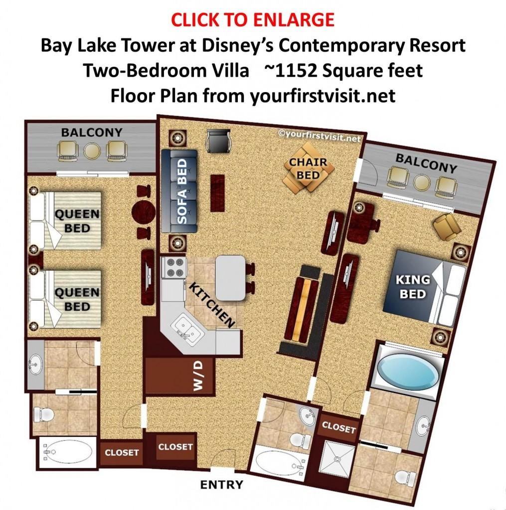Floor Plan Two Bedroom Villa Bay Lake Tower from yourfirstvisit.net