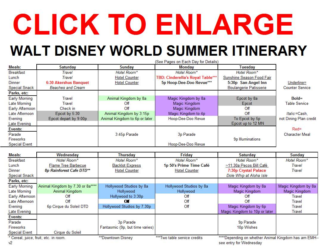 New Summer Itinerary for Walt Disney World Released ...