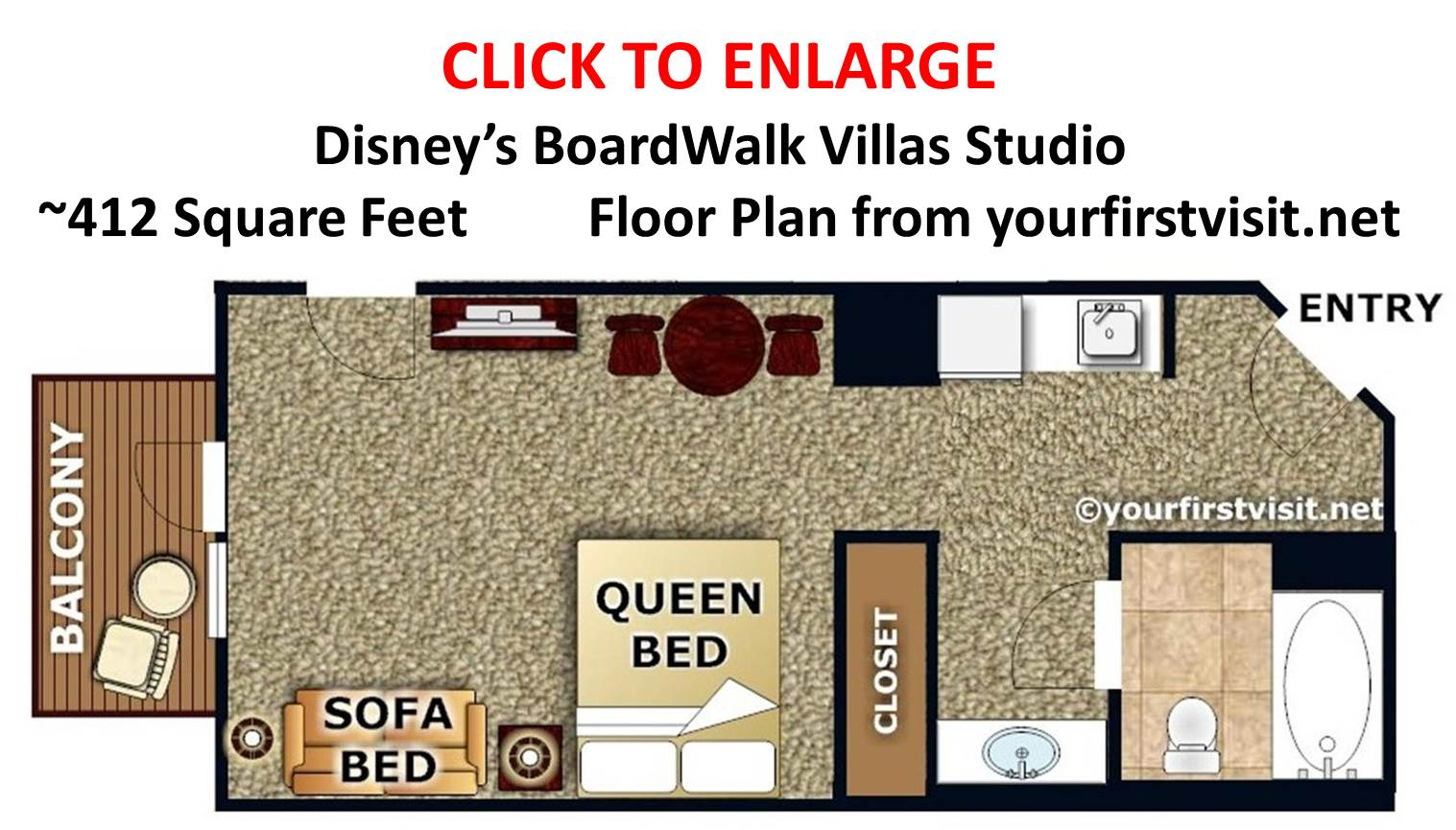 Sleeping space options and bed types at walt disney world resort disneys boardwalk villas studio floor plan from yourfirstvisit sciox Image collections