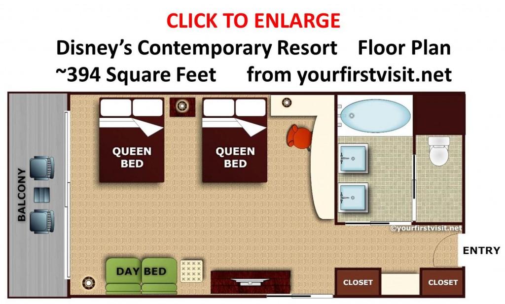 Floor Plan Disney's Contemporary Resort from yourfirstvisit.net