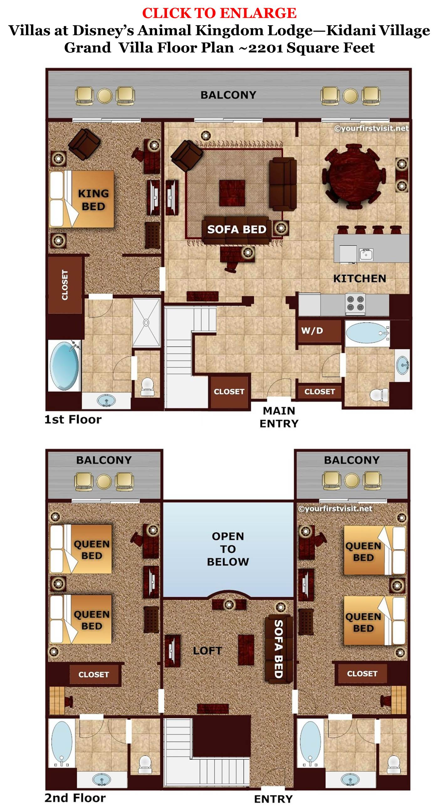 Accommodations and theming at disney 39 s animal kingdom villas jambo house for Animal kingdom 2 bedroom villa floor plan