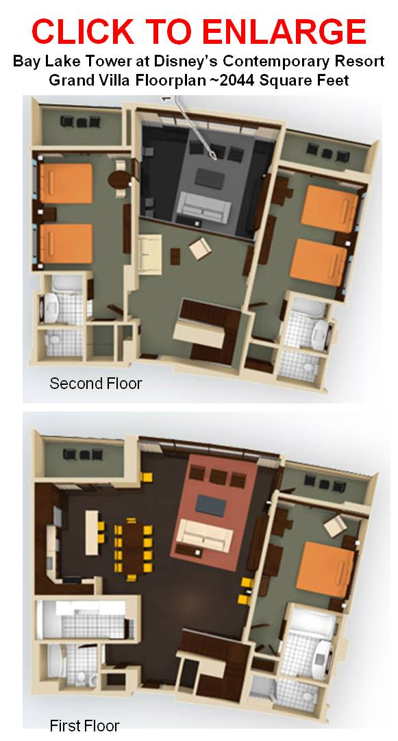 Bay Lake Tower Grand Villa Floor Plan
