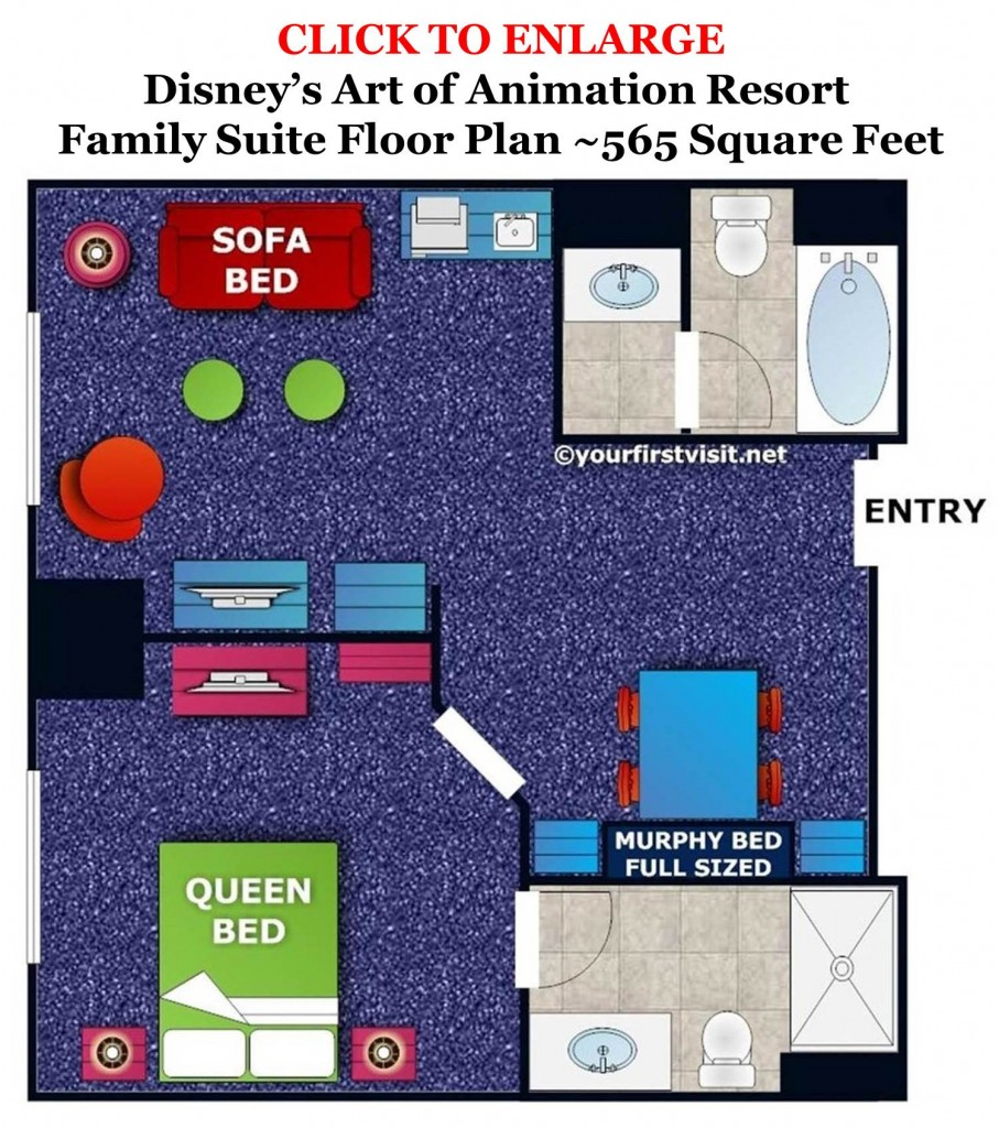 Family Suite Floor Plan Disney's Art of Animation Resort from yourfirstvisit.net
