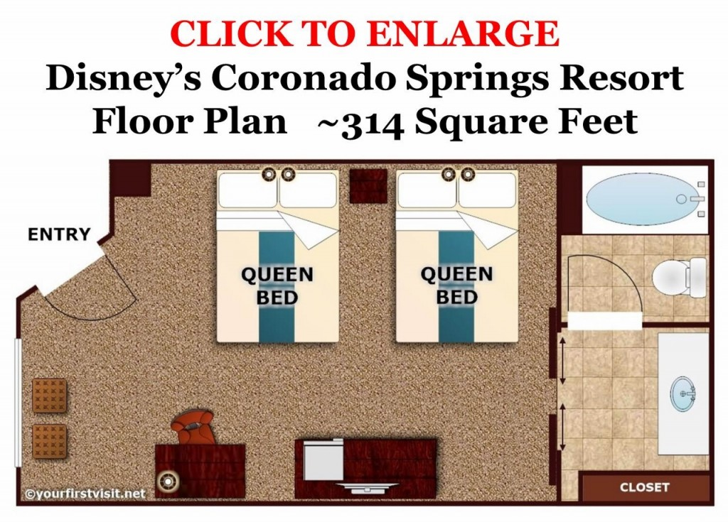 Disney's Coronado Springs Standard Room Floor Plan from yourfirstvisit.net (1280x919)