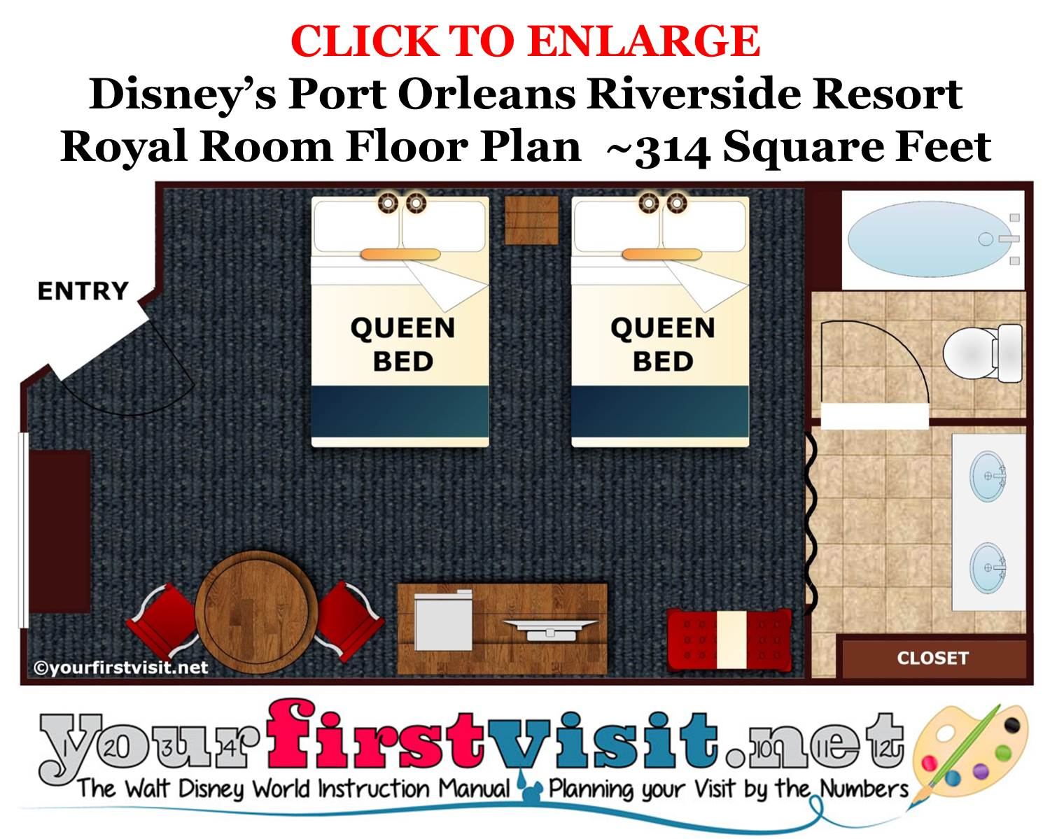 Floor Plan Royal Room Disney's Port Orleans Riverside Resort from yourfirstvisit.net