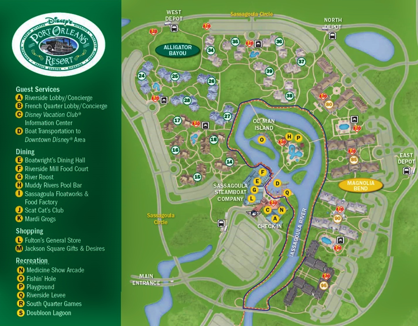 Map Disney's Port Orleans Riverside Resort