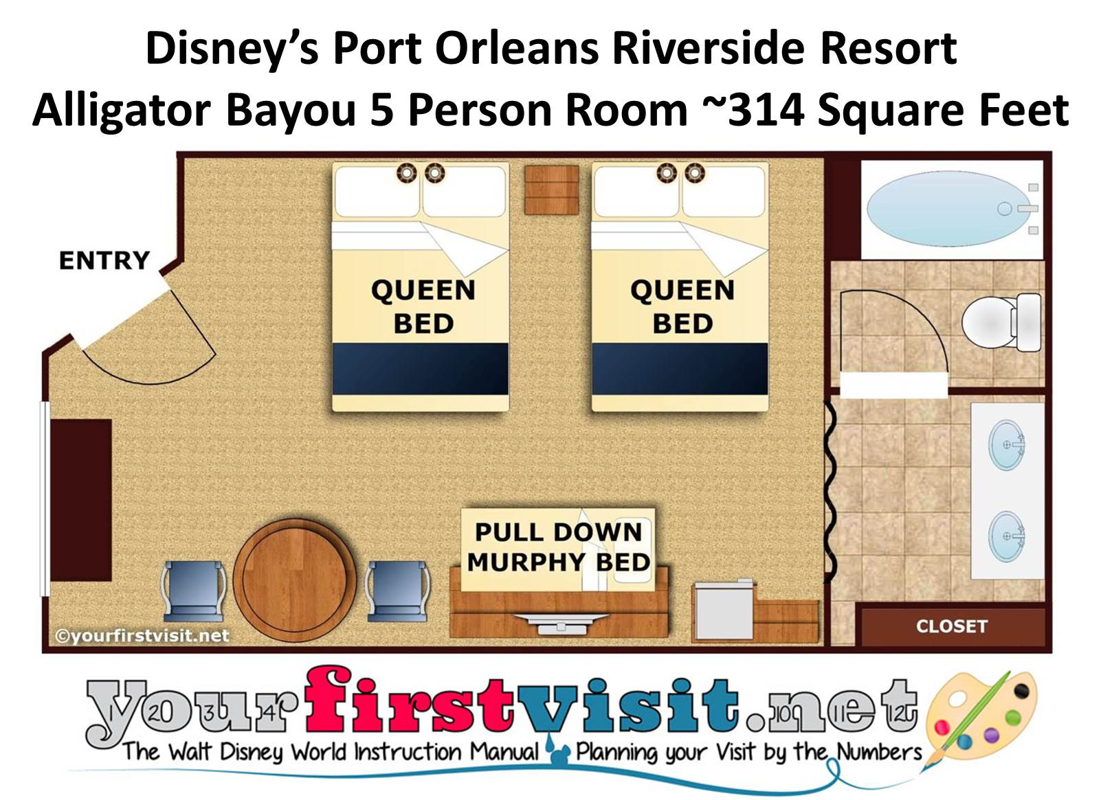 Port Orleans Riverside Alligator Bayou 5 Person Room Floor Plan from yourfirstvisit.net
