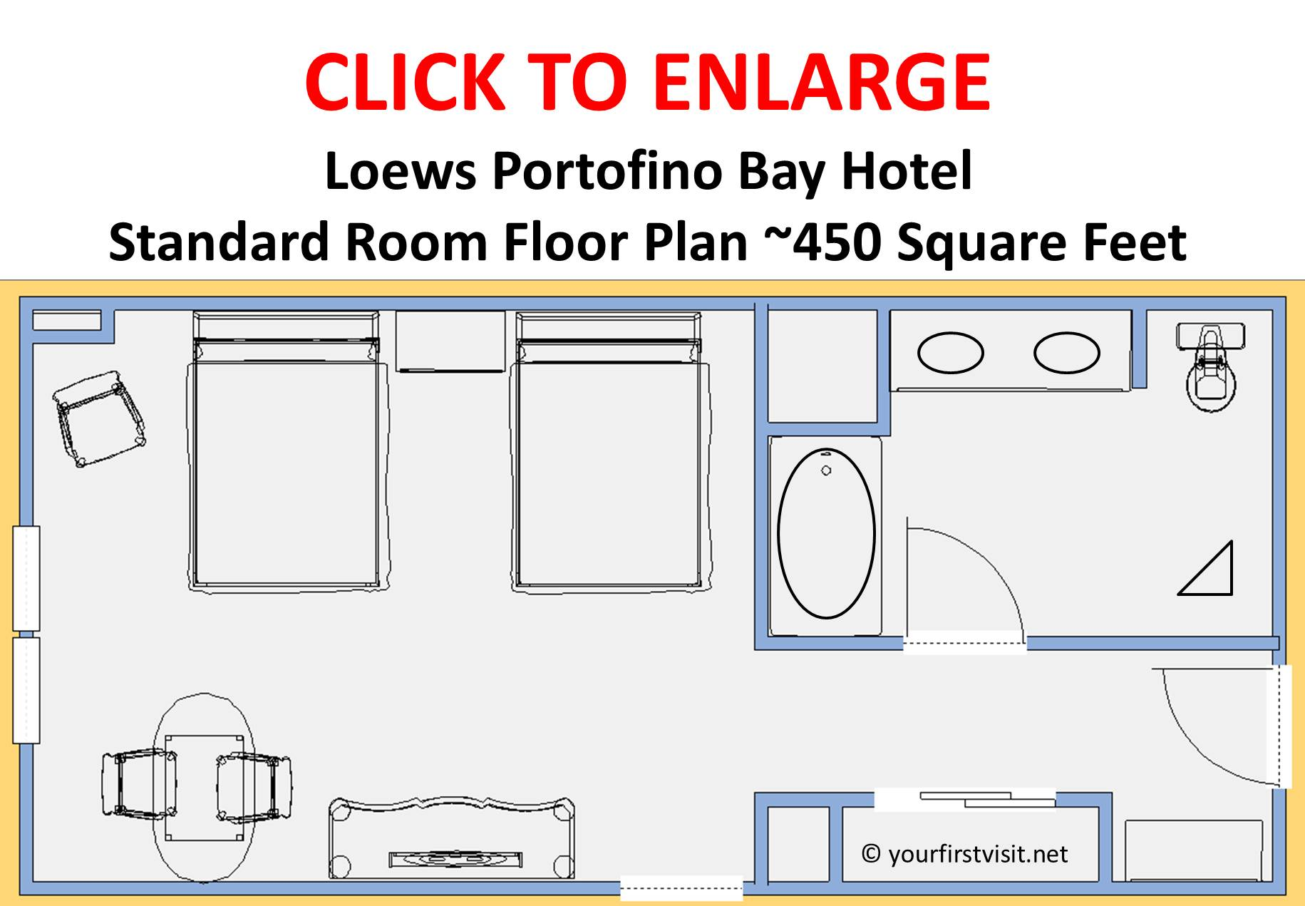 Review standard rooms at loews portofino bay hotel for Roommate floor plan
