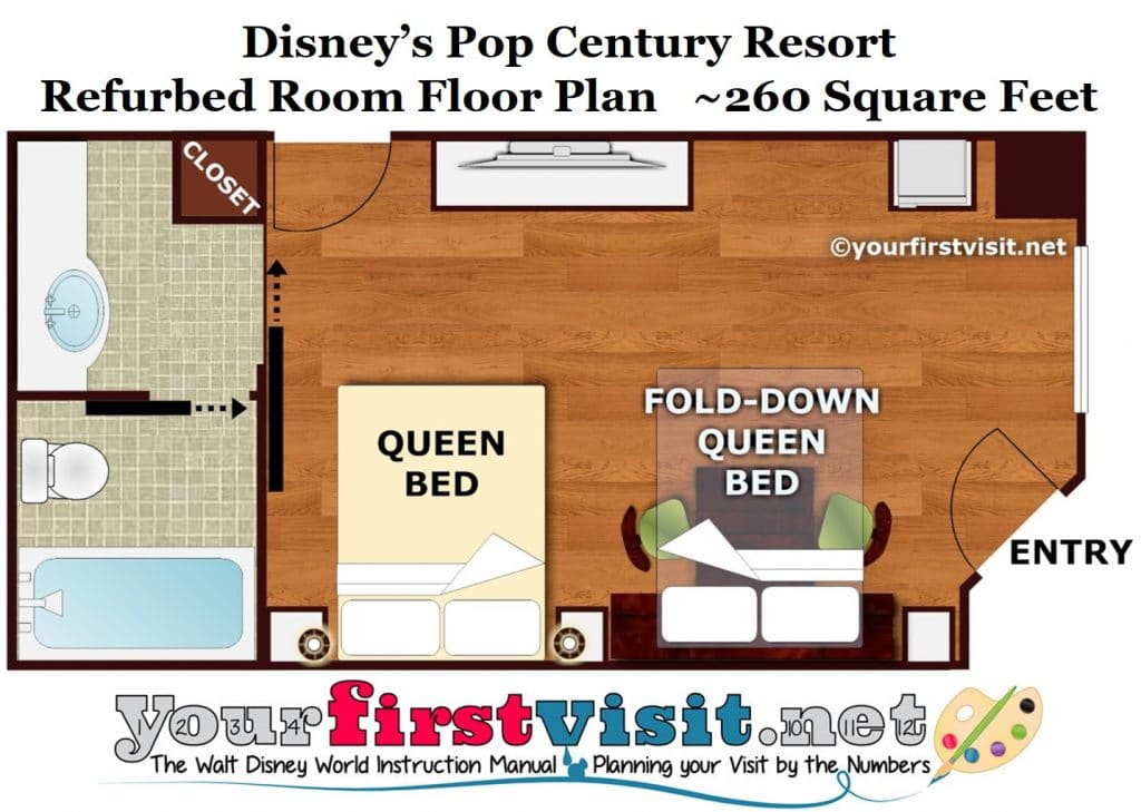 Review disney 39 s pop century resort for Roommate floor plan