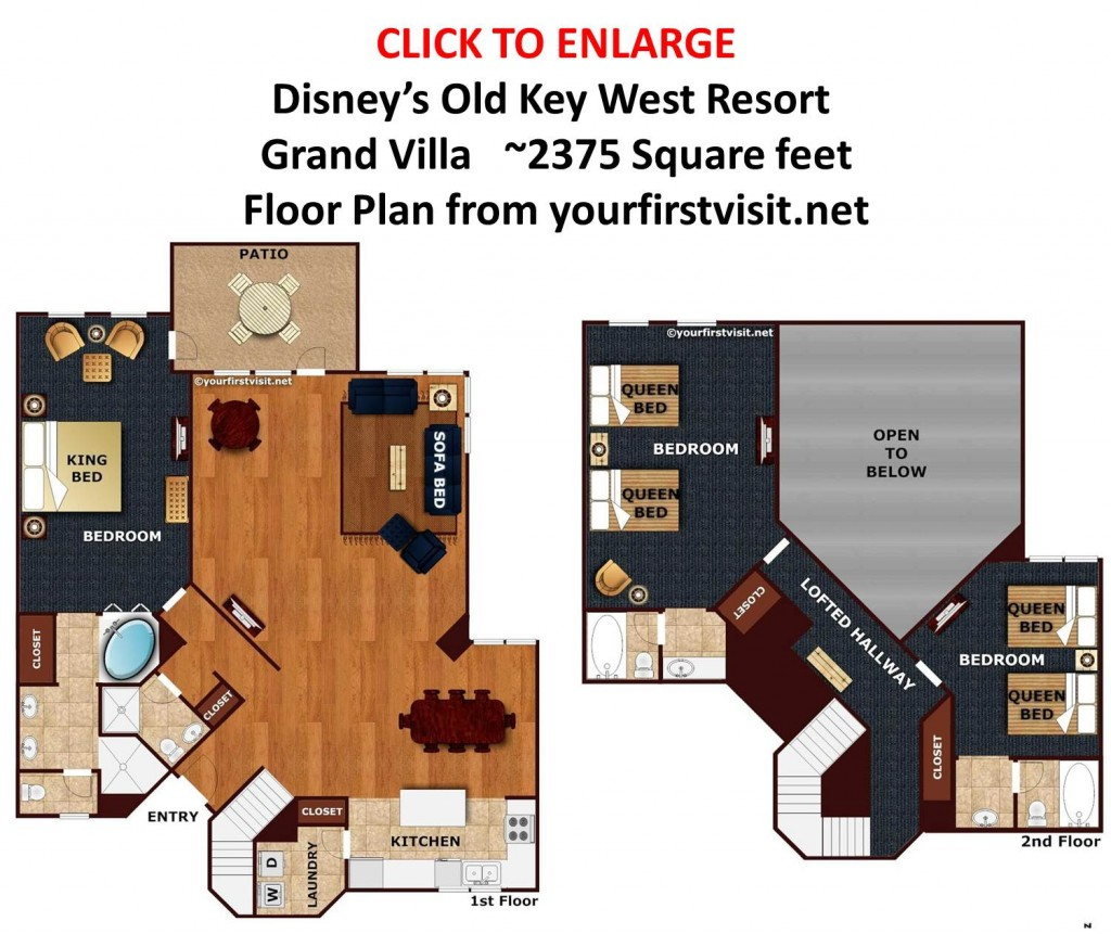 Grand Villa Floor Plan Disney's Old Key West Resort from yourfirstvisit.net