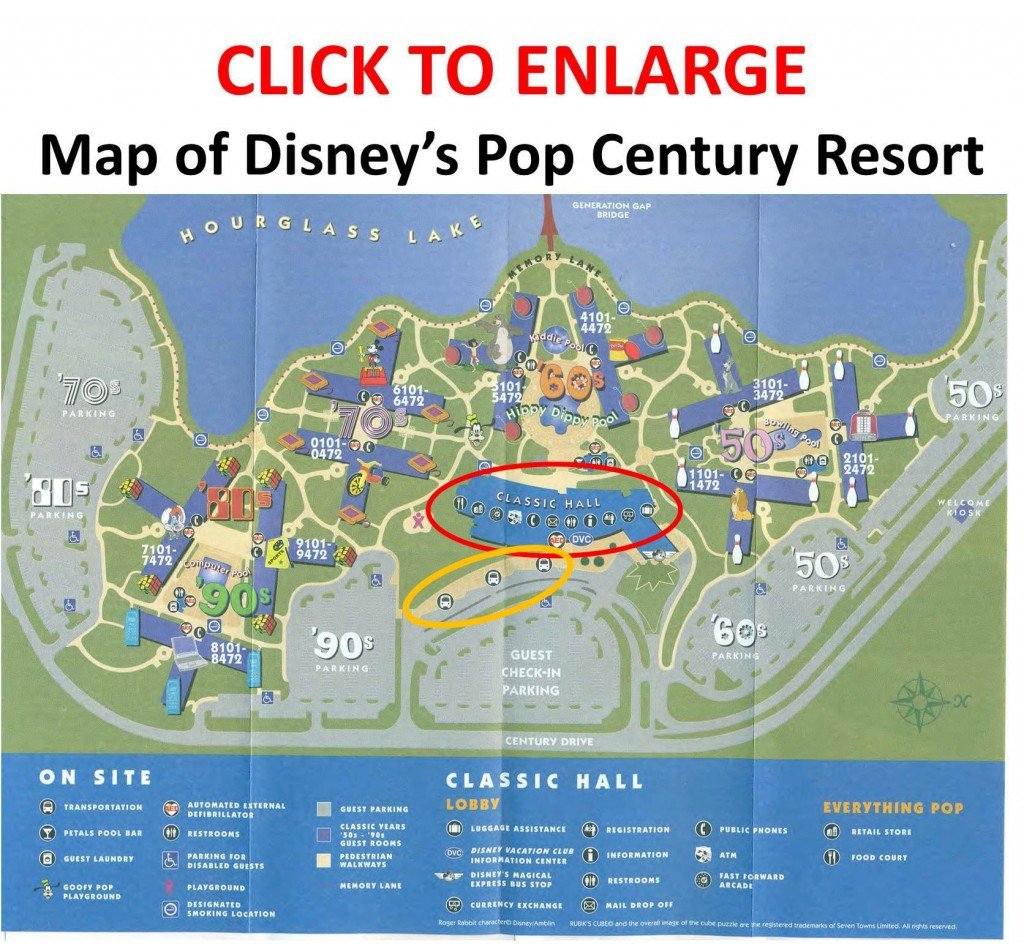 Annotated Map of Disney's Pop Century Resort