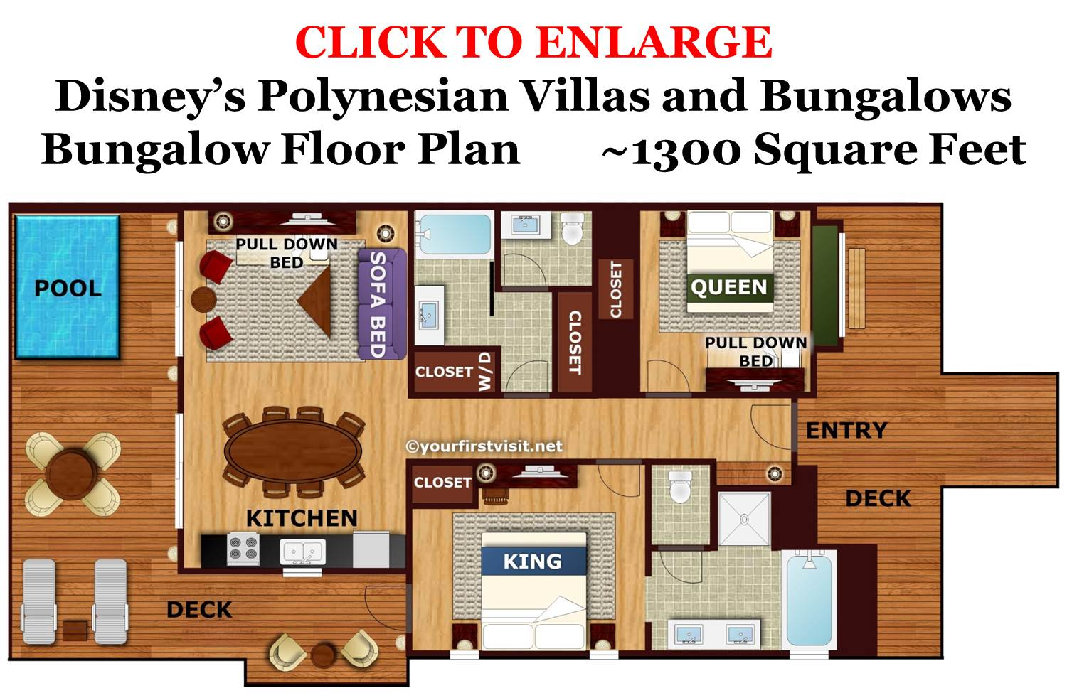 Bungalow Floor Plan - Disney's Polynesian Villas and Bungalows from yourfirstvisit.net