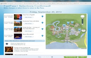 My fastpass+ selections for the Port Orleans Riverside test from yourfirstvisit.net