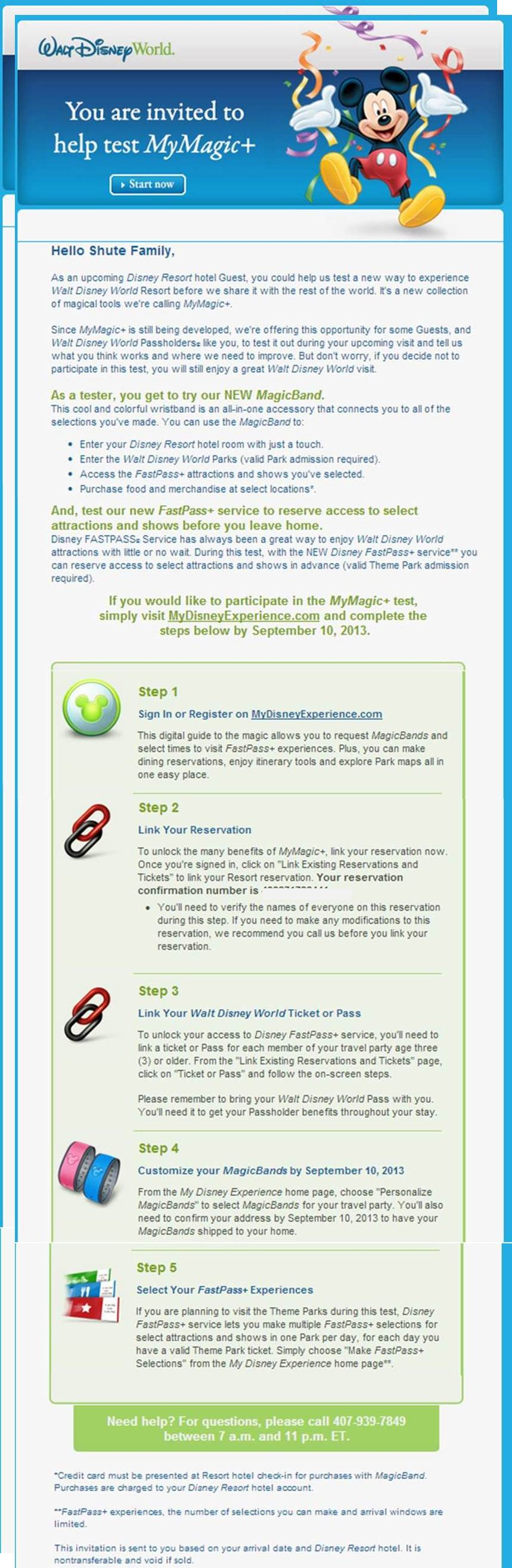 FastPass+ Invitation Email from yourfirstvisit.net