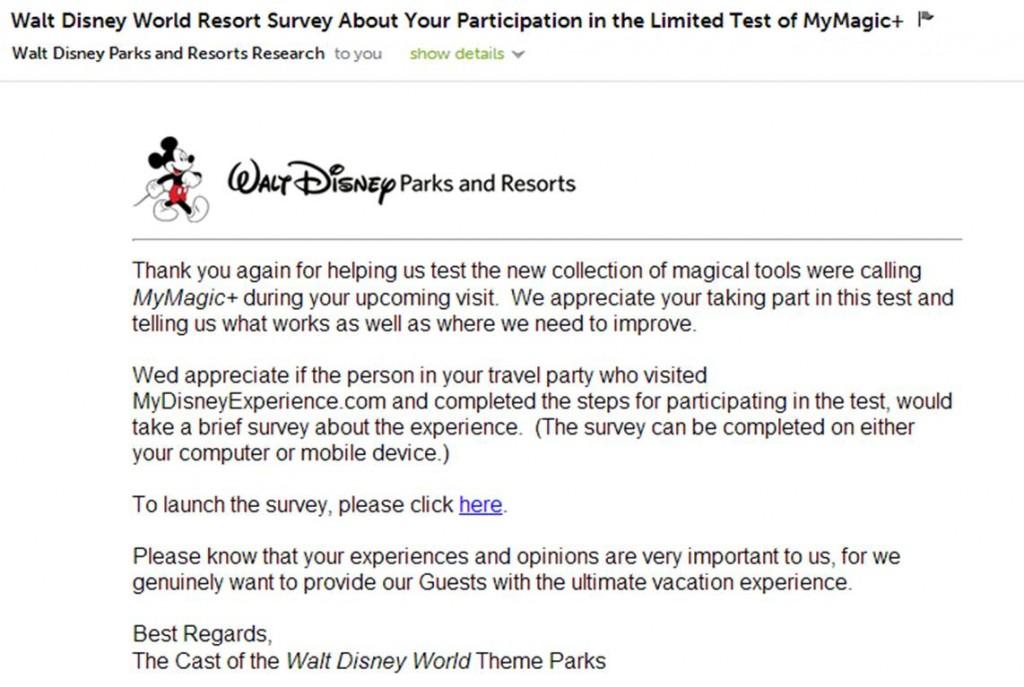 Disney World FatsPass+ Survey Email Invitation with Typo from yourfirstvisit.net