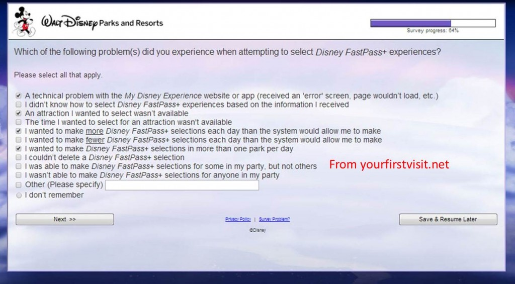 Interesting Problem List from FastPass+ Survey from yourfirstvisit.net