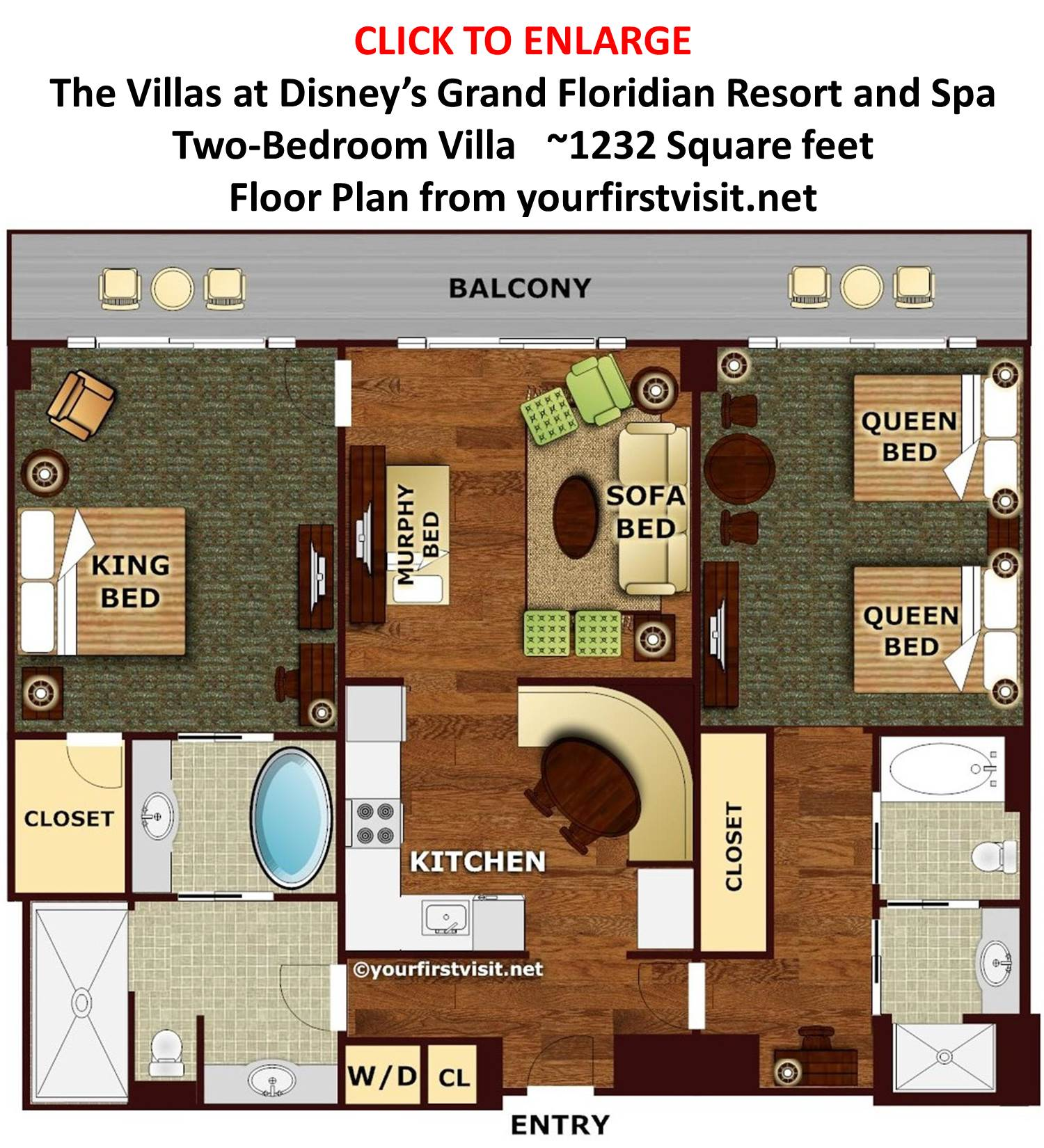 The second bedroom or studio at the villas at disney 39 s for Two bedroom plan