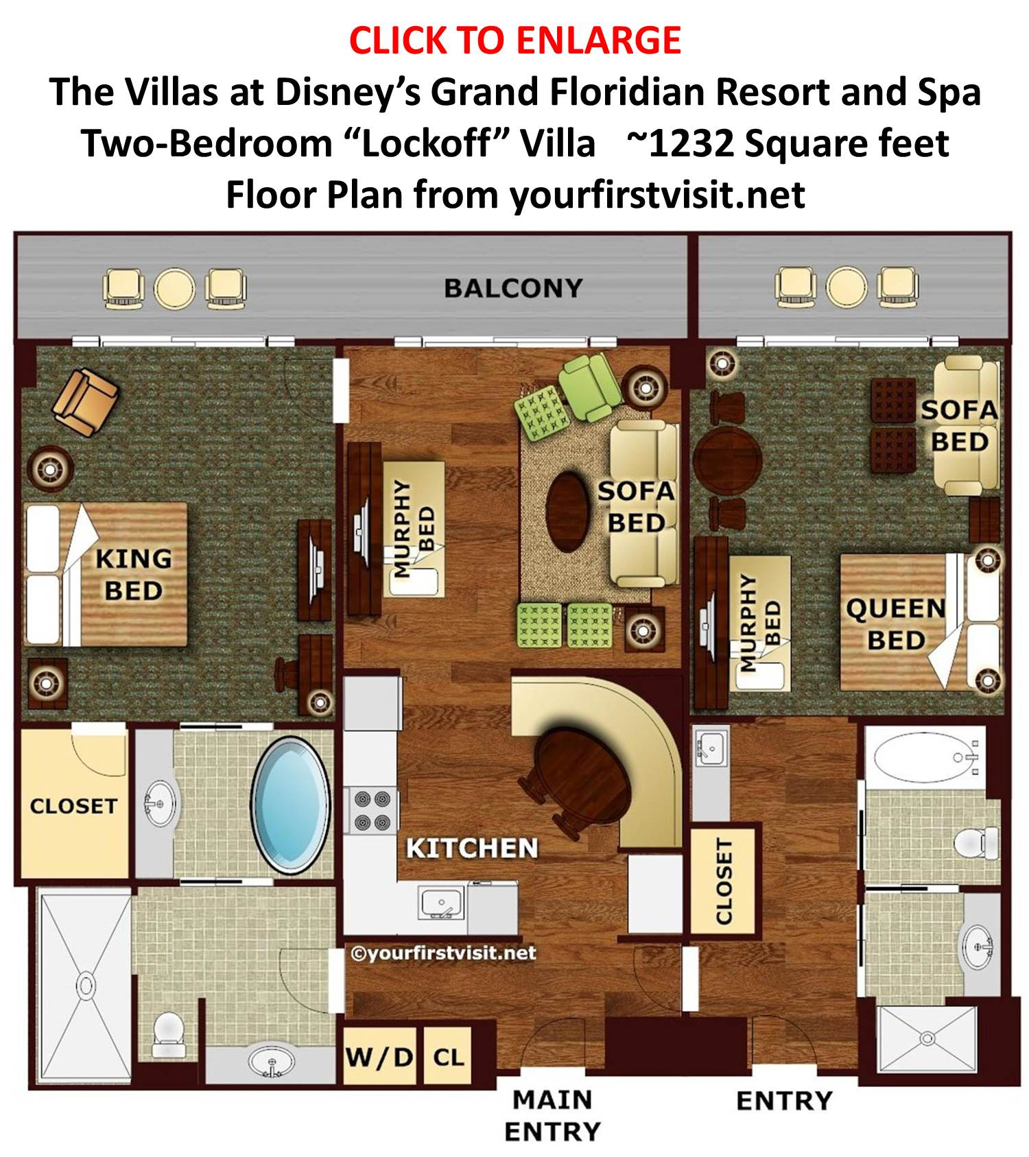 Theming and accommodations at the villas at disney 39 s grand for Floor plan 2 bedroom