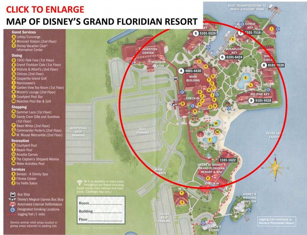 Map of Disney's Grand Floridian Resort & Spa from yourfirstvisit.net