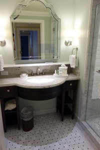 Sink and Shower in Studio at Disney's Grand Floridian Resort & Spa from yourfirstvisit.net