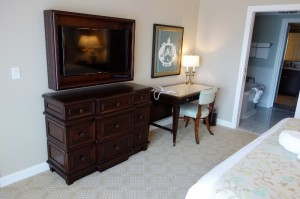 TV Side Master Bedroom in One and Two Bedroom Villas at Disney's Grand Floridian Resort & Spa from yourfirstvisit.net
