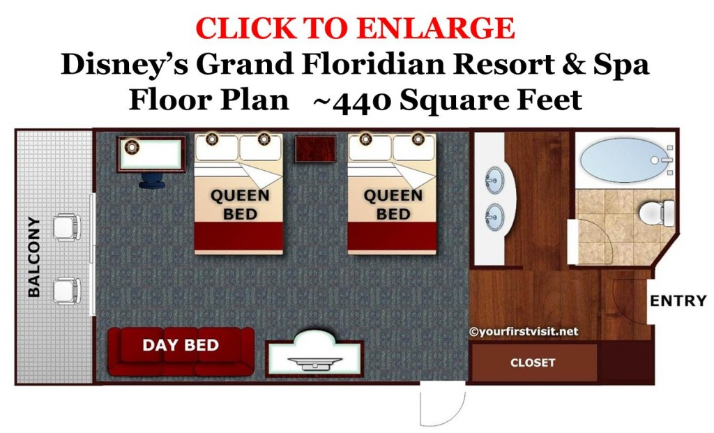 Floor Plan Standard Room Disney's Grand Floridian Resort & Spa from yourfirstvisit.net