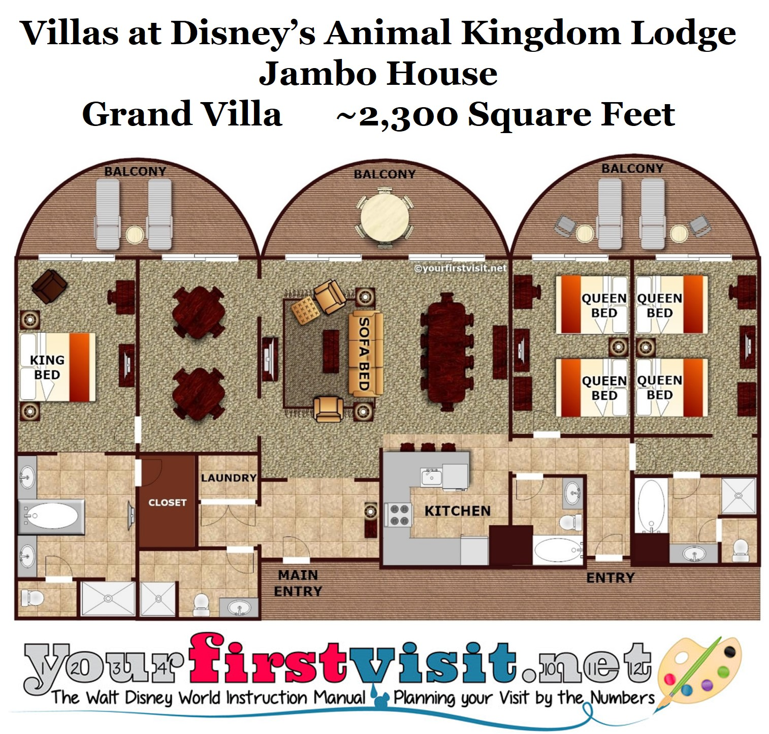 animal kingdom lodge 3 bedroom villa floor plan