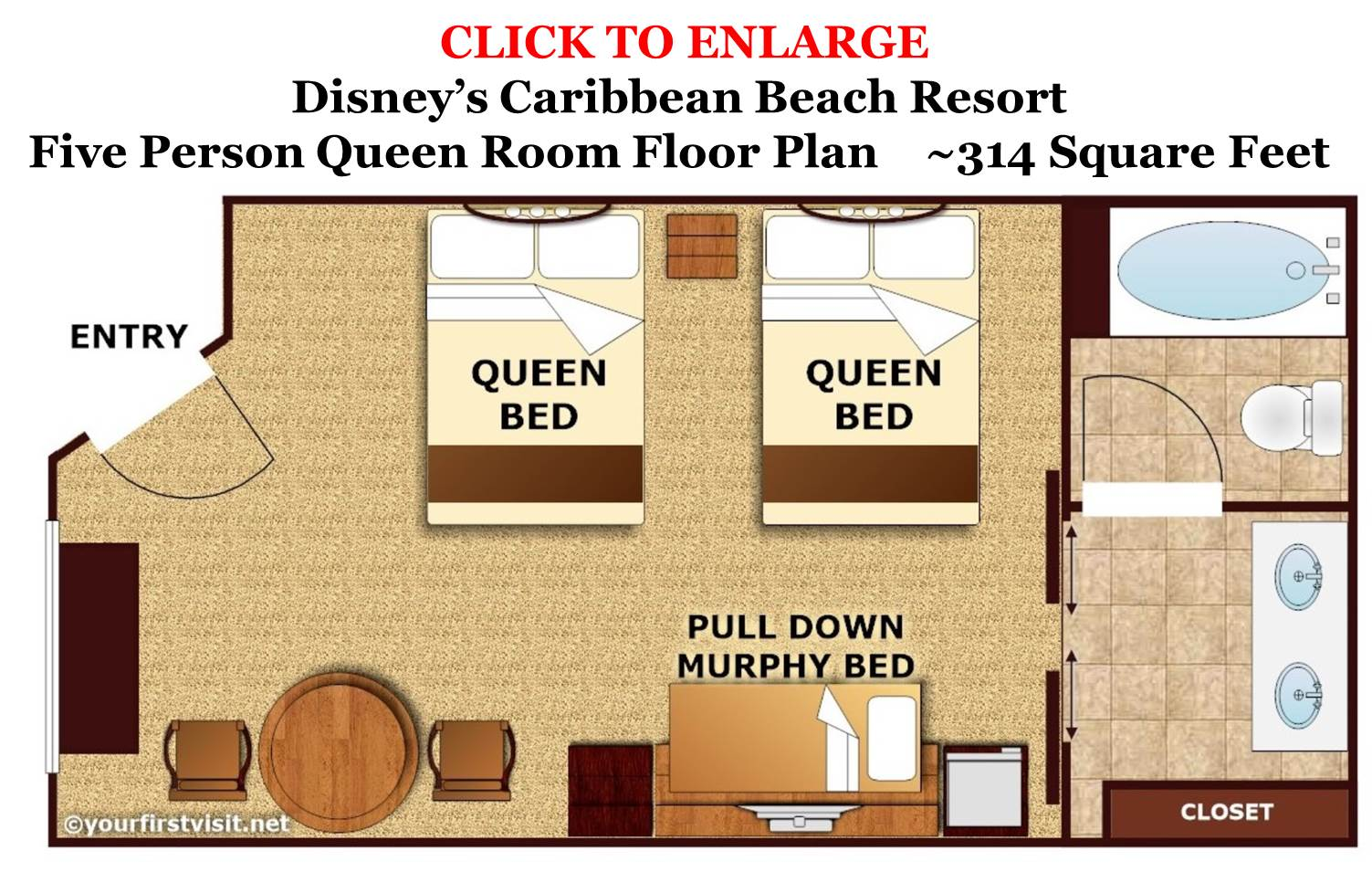 Five Person Queen Room Floor Plan Disney's Caribbean Beach Resort from yourfirstvisit.net