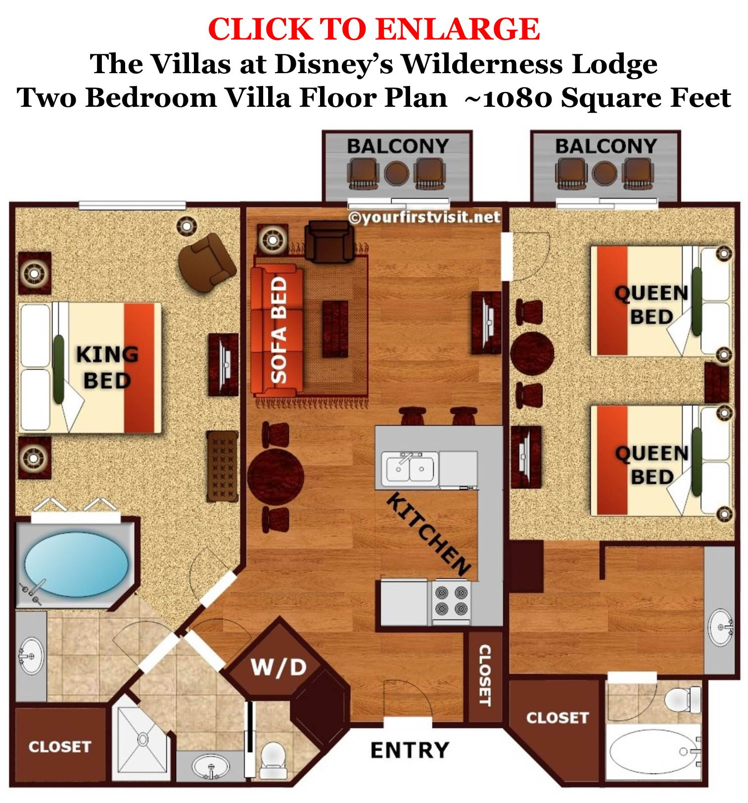 Sleeping space options and bed types at walt disney world for Floor plan 2 bedroom