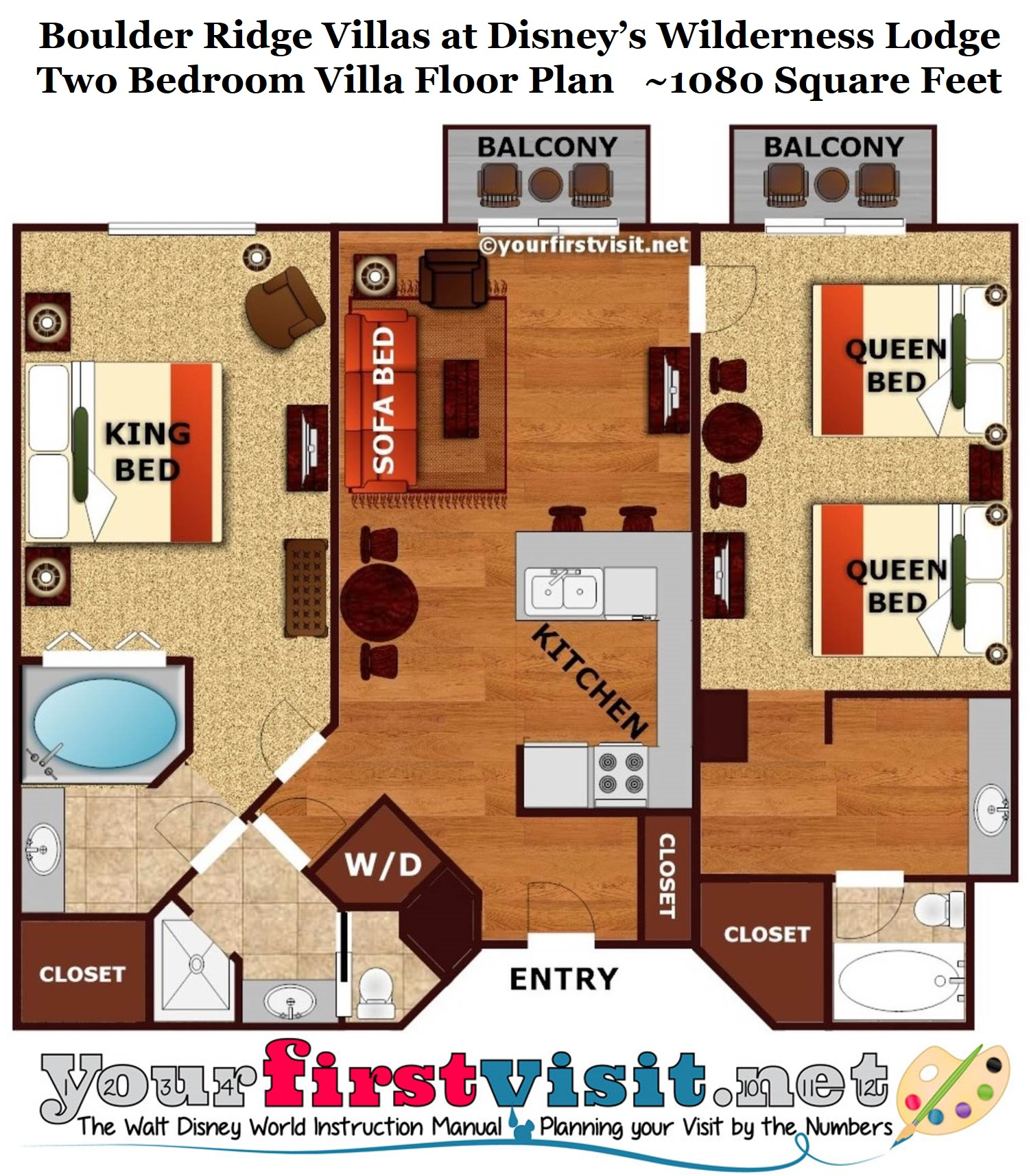 Kidani Village 2 Bedroom Villa Floor Plan Review Boulder Ridge Villas At Disney S Wilderness Lodge