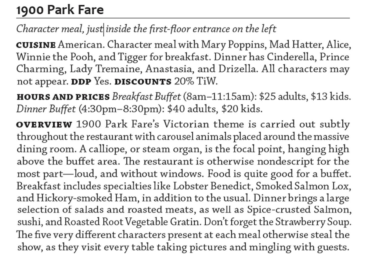 1900 Park Fare from The easy Guide