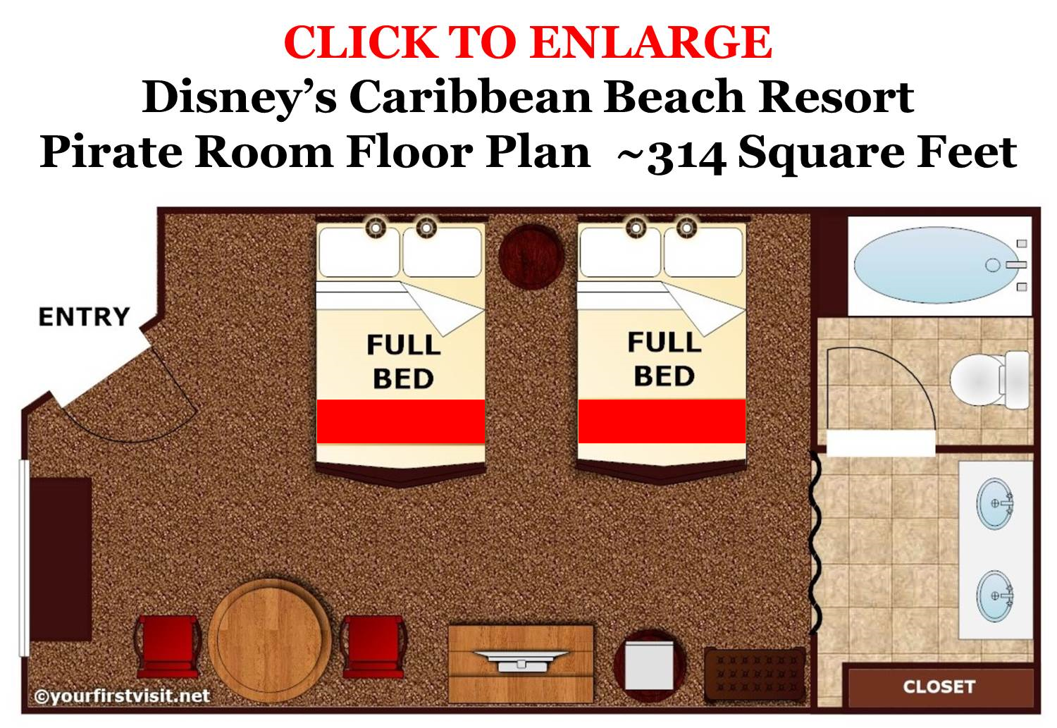 Floor Plan Pirate Room Disney's Caribbean Beach Resort from yourfirstvisit.net