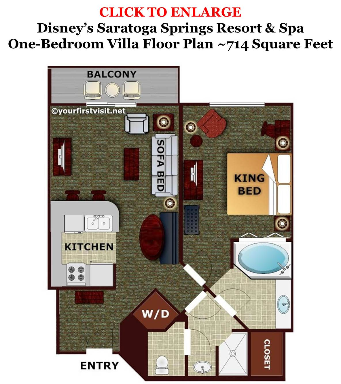One Bedroom Villa Floor Plan Disney's Saratoga Springs Resort from yourfirstvisit.net