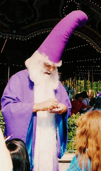 Jim Korkis as Merlin at Fantasyland