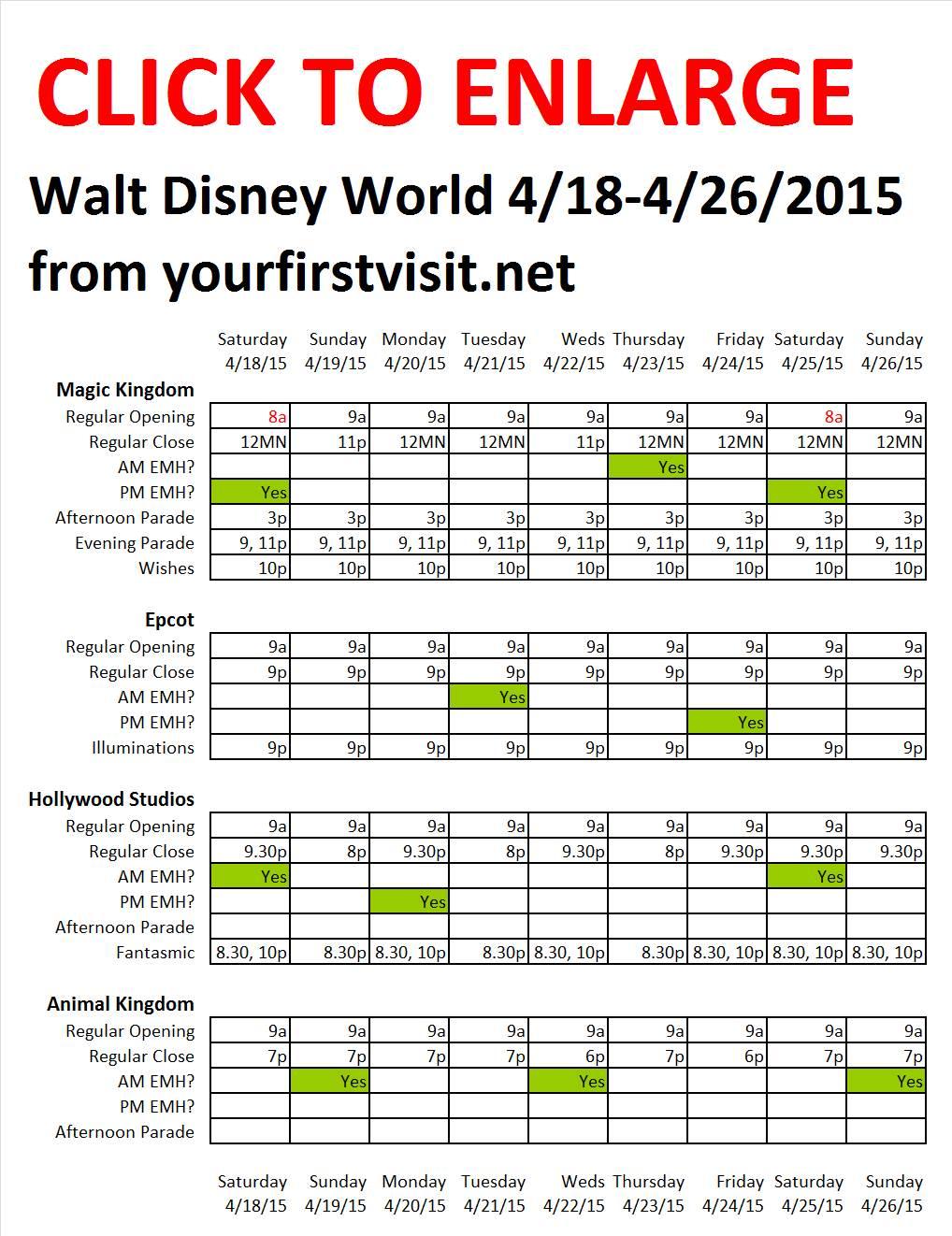Disney World 4-18 to 4-26-2015 from yourfirstvisit.net