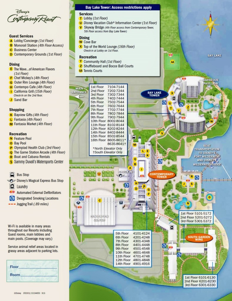 Map Disney's Contemporary Resort