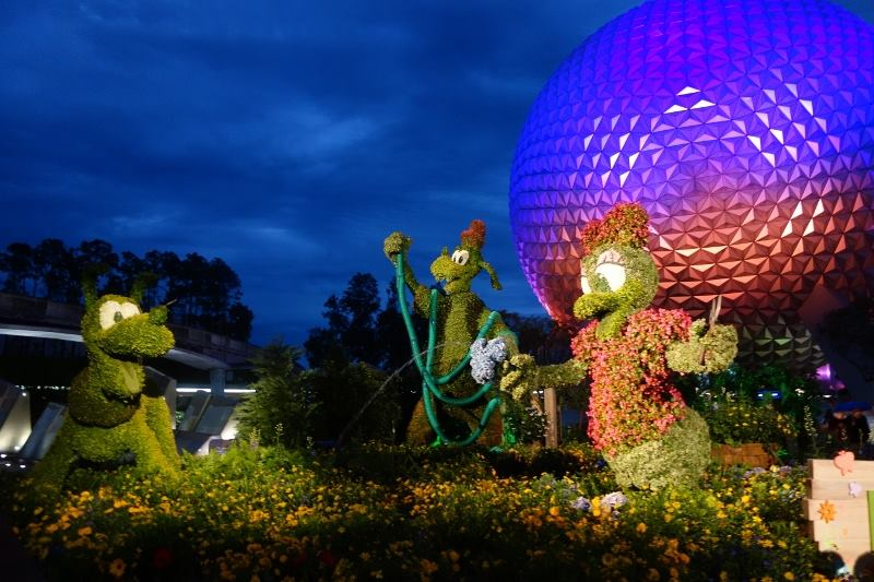 Spaceship Earth During Flower and Garden from yourfirstvisit.net
