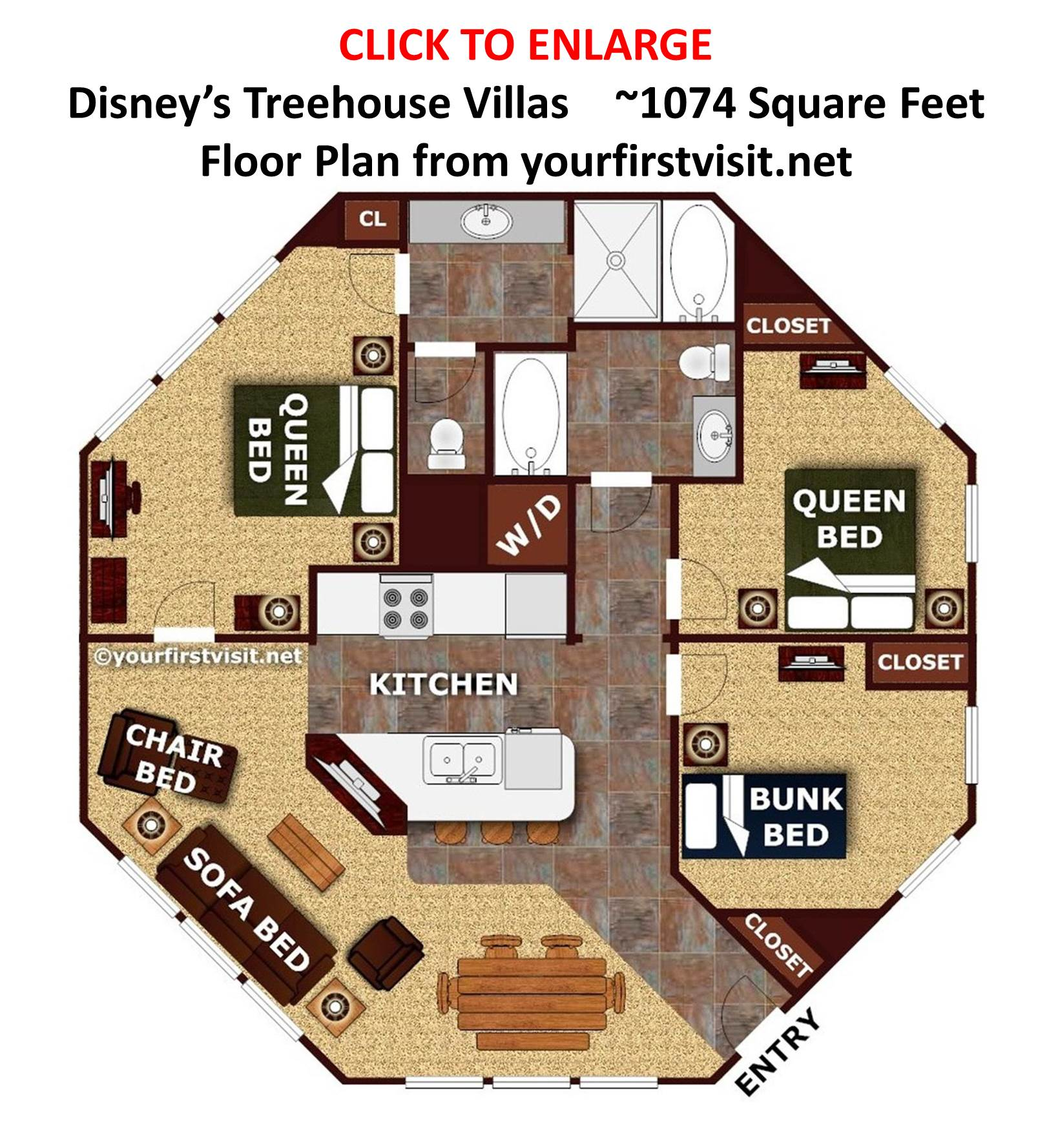 Sleeping space options and bed types at walt disney world Plans for villas