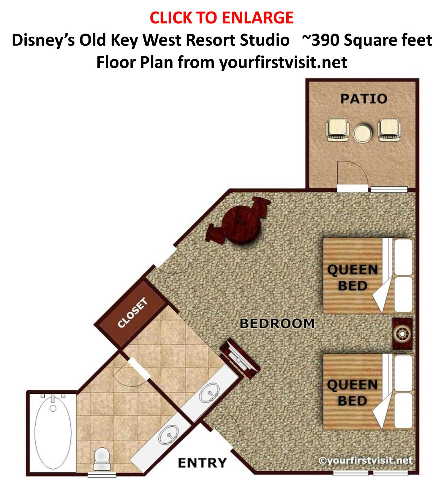 Studio Floor Plan Disney's Old Key West Resort from yourfirstvisit.net