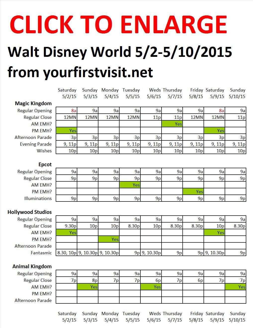 Disney World 5-2 to 5-10-2015 from yourfirstvisit.net