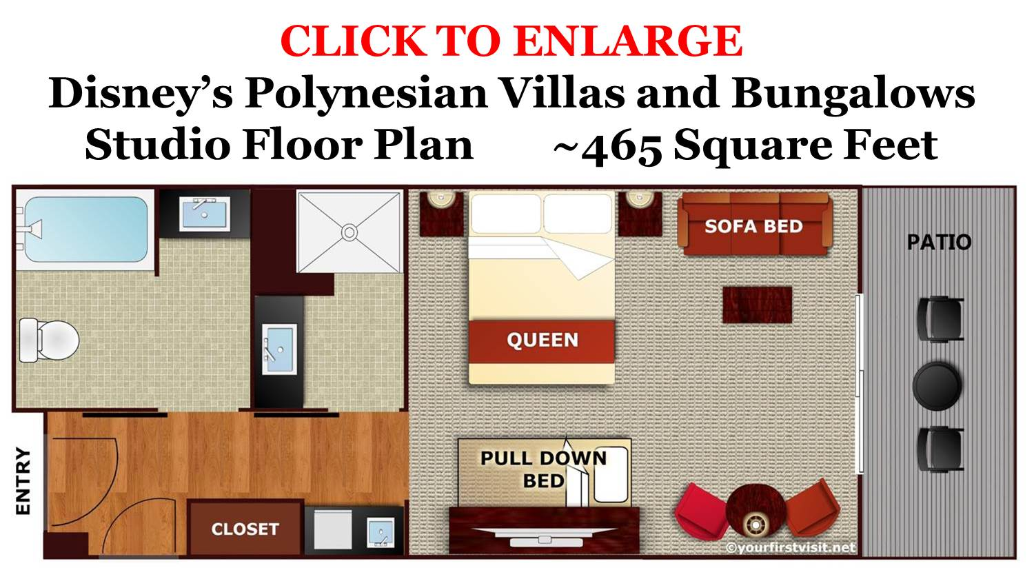 Studio Floor Plan - Disney's Polynesian Villas and Bungalows from yourfirstvisit.net