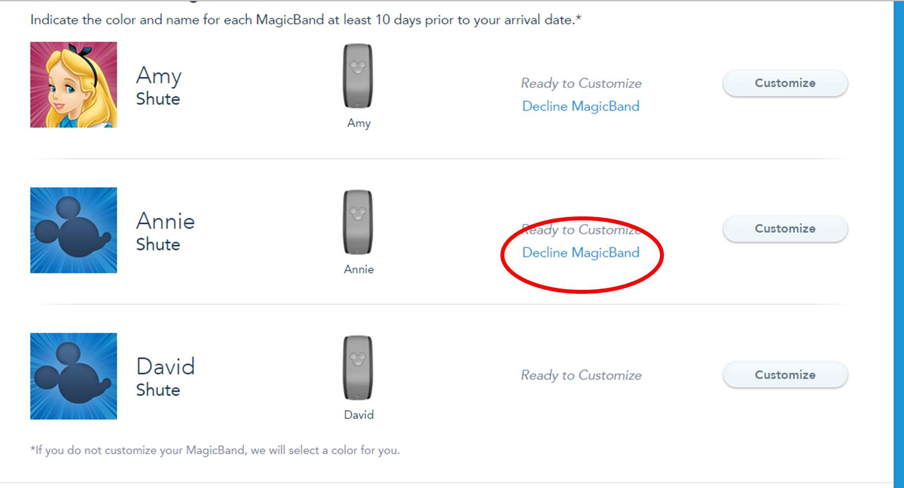 Declining a MagicBand Step 1 from yourfirstvisit.net