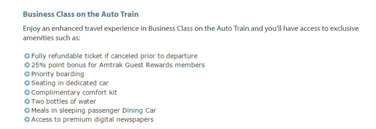 Business Class on the Auto Train from yourfirstvisit.net