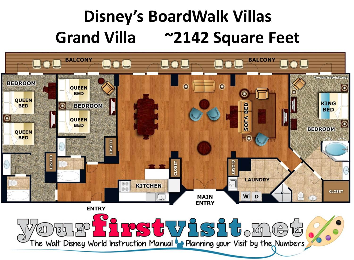 Floor Plan Grand Villa Disney's BoardWalk Villas from yourfirstvisit.net