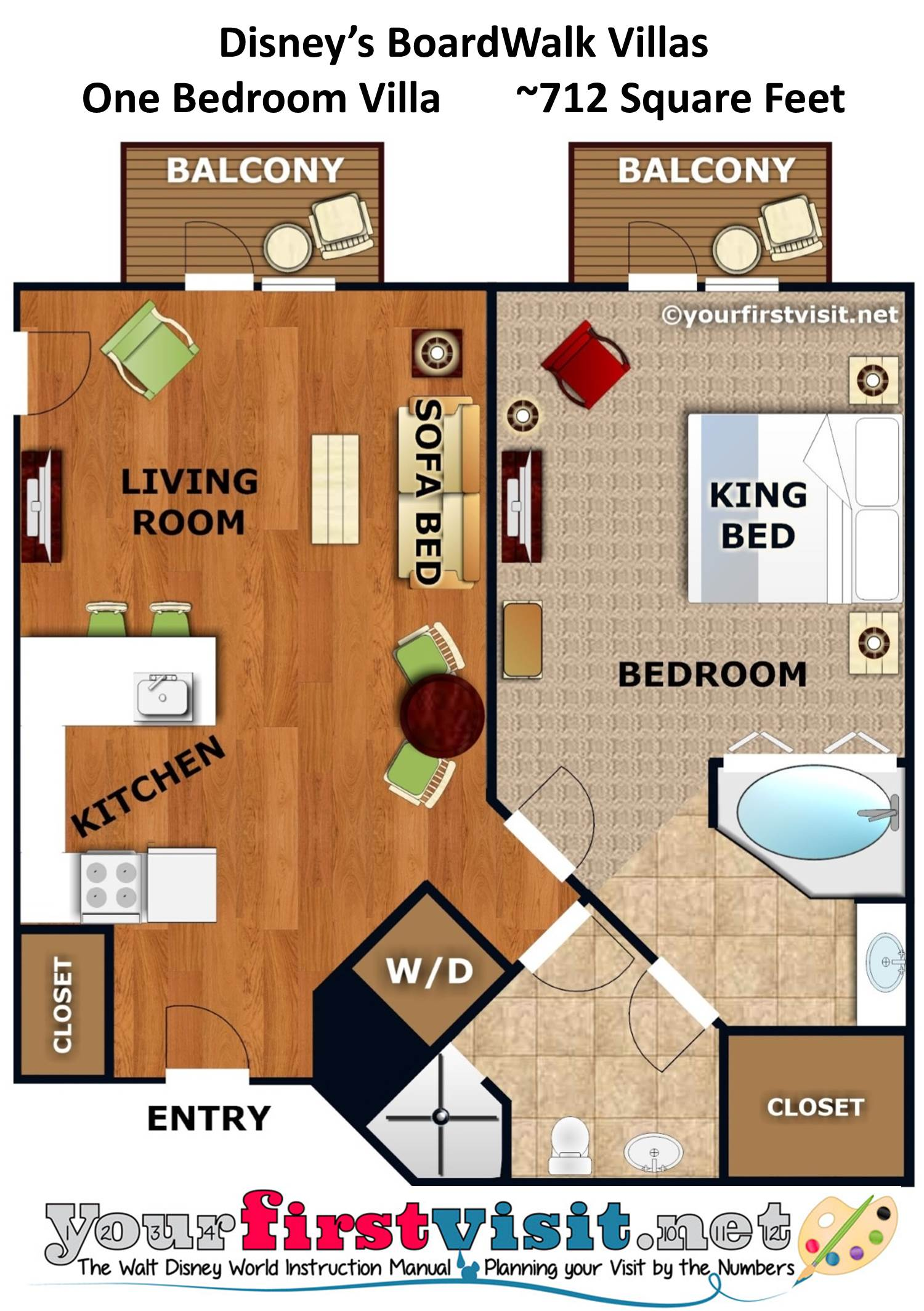 Floor Plan One Bedroom Villa Disney's BoardWalk Villas from yourfirstvisit.net