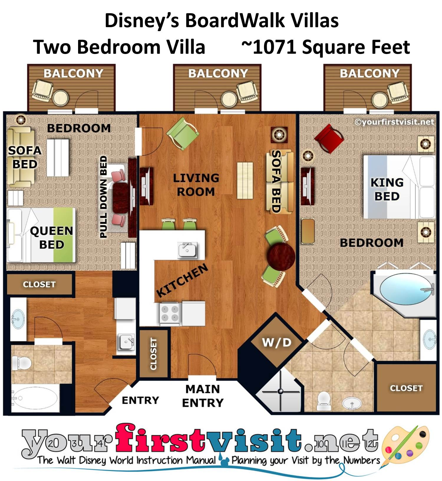 Floor Plan Two Bedroom Villa Disney's BoardWalk Villas from yourfirstvisit.net