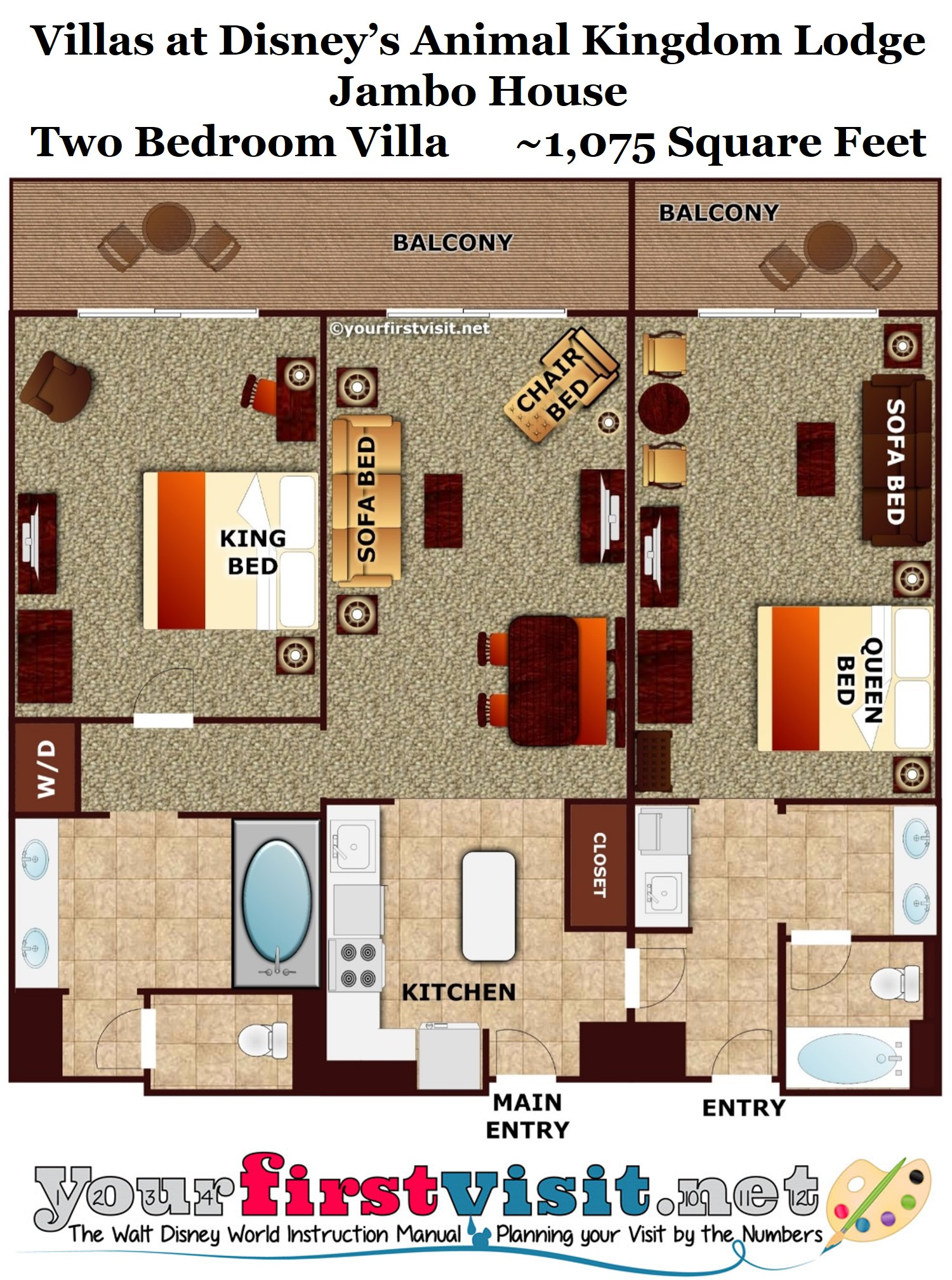 Photo tour one bedroom villa bath master bedroom space for Villa floor plans