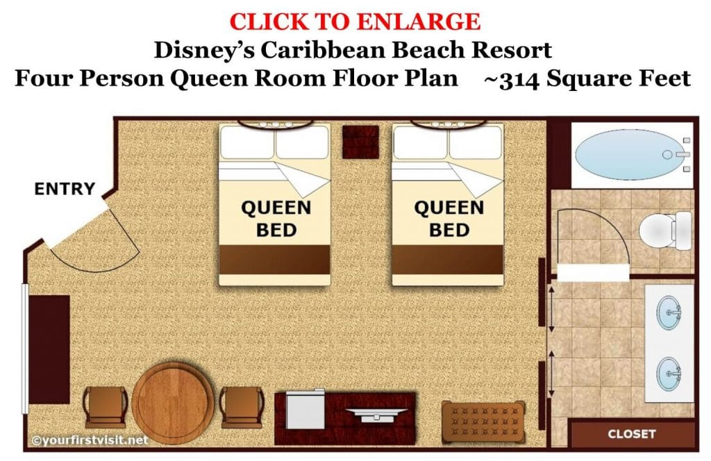 Four Person Queen Rooms At Disney's Caribbean Beach Resort