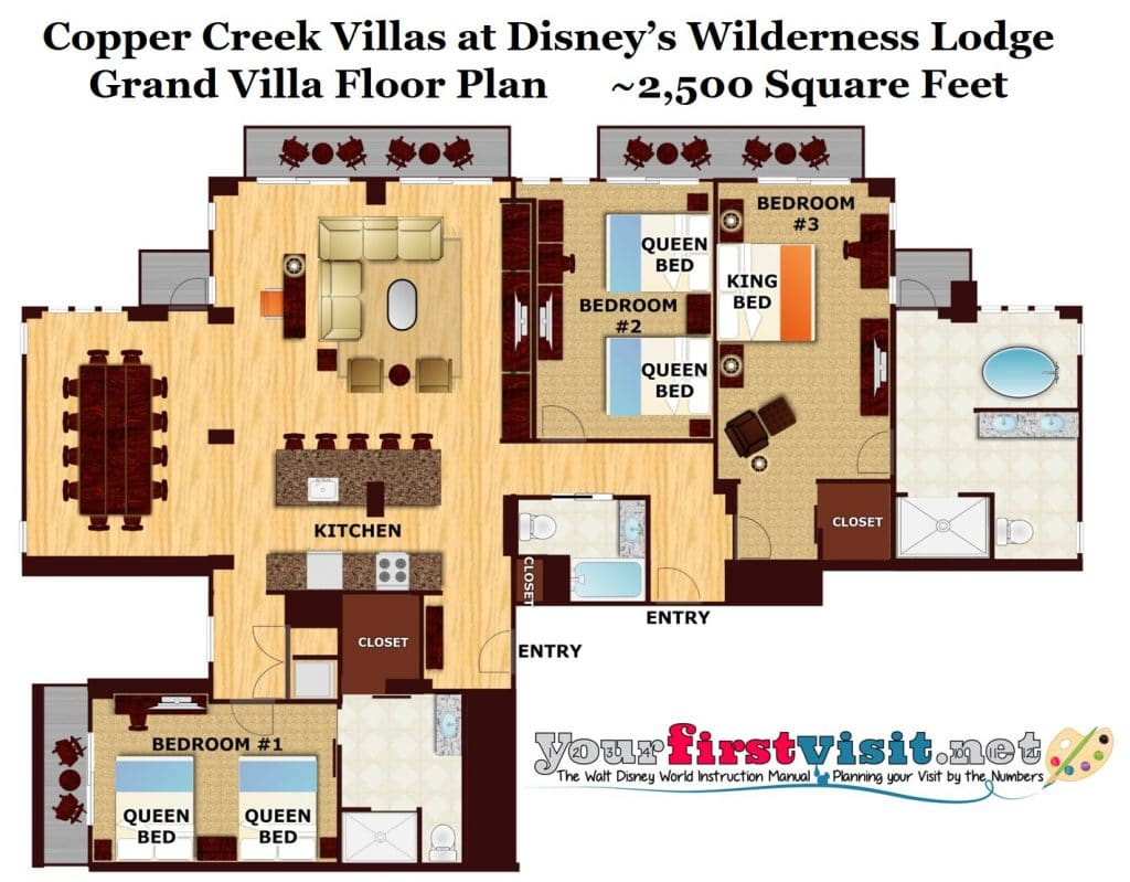 Theming and accommodations at copper creek villas at 3 bedroom villa floor plans