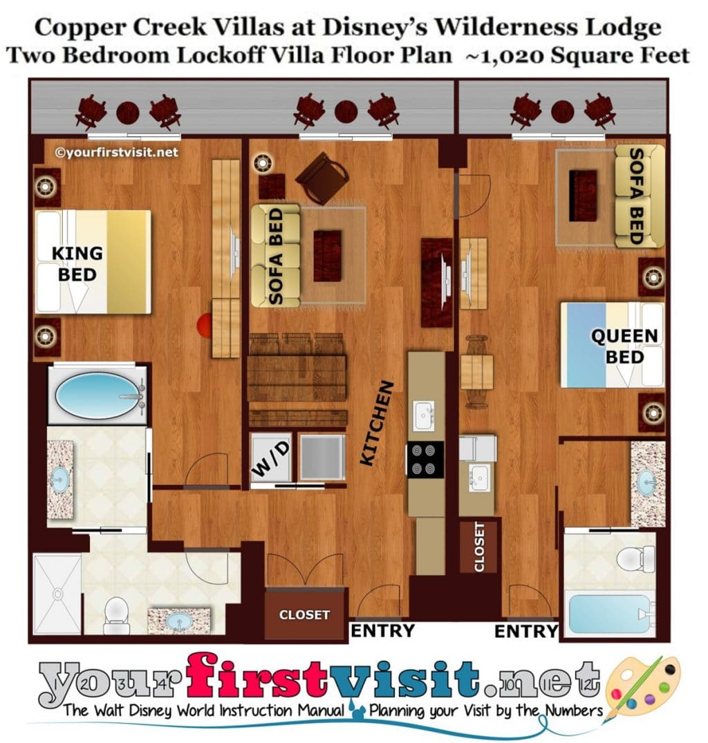 Review copper creek villas and cabins at disney 39 s for Floor plan 2 bedroom